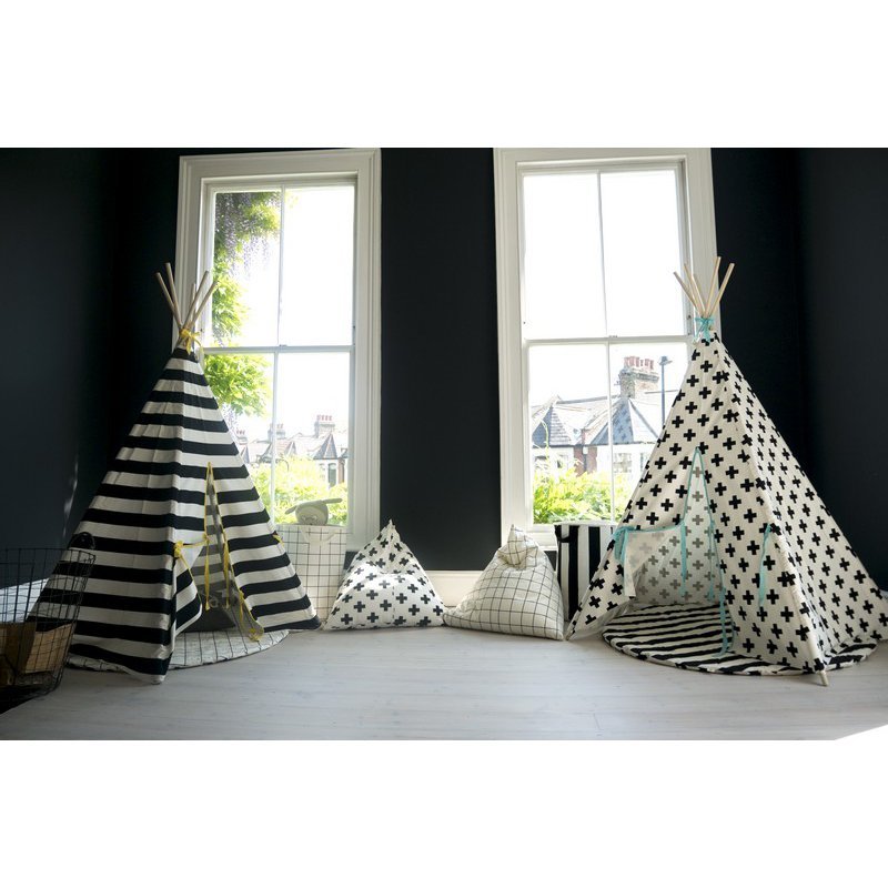 wildfire spielzelt tipi schwarz wei streifen saum s. Black Bedroom Furniture Sets. Home Design Ideas