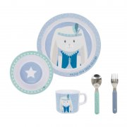 Little Dutch - Kinder Melamin Geschirr-Set Stars & Hase,...