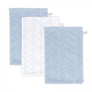 Little Dutch - Waschlappen, 3-er Set / Leaves, Blue