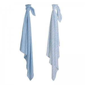Little Dutch - Muslin Swaddle Tuch Blue Leaves, Set aus 2 Designs / 70x70cm