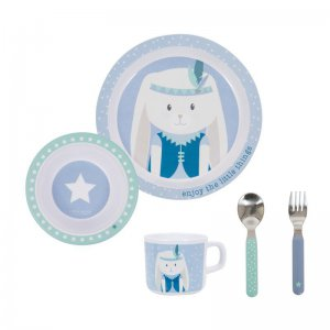 Little Dutch - Kinder Melamin Geschirr-Set Stars & Hase, 5 Teile / Mint & Blau
