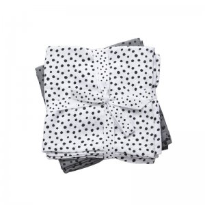 done by deer - Mull-und Wickeltuch Happy Dots, Grau - 2er Set / 120x120cm